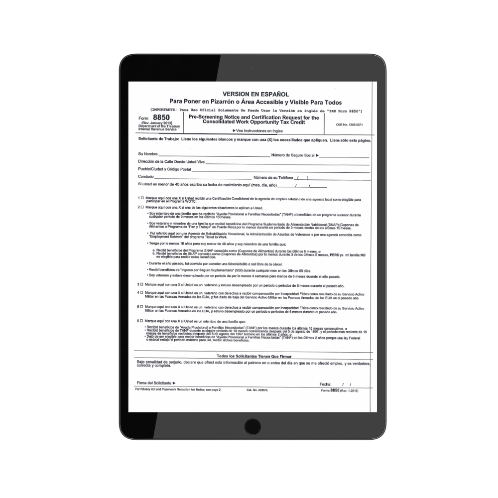 8850 Employer Form in Spanish | TPG Employer Forms