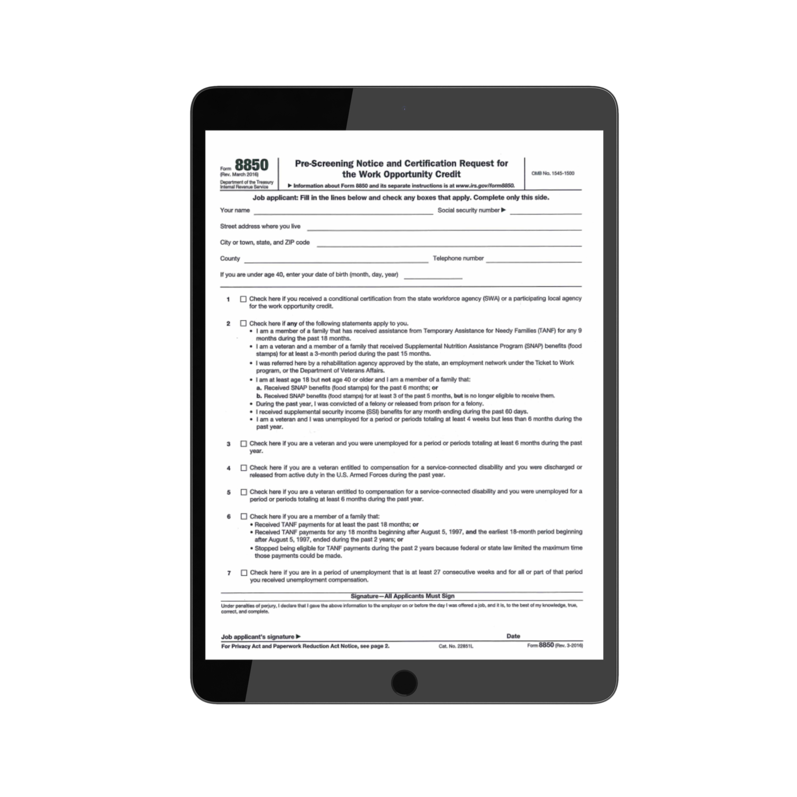 8850 Employer Form | TPG Employer Forms