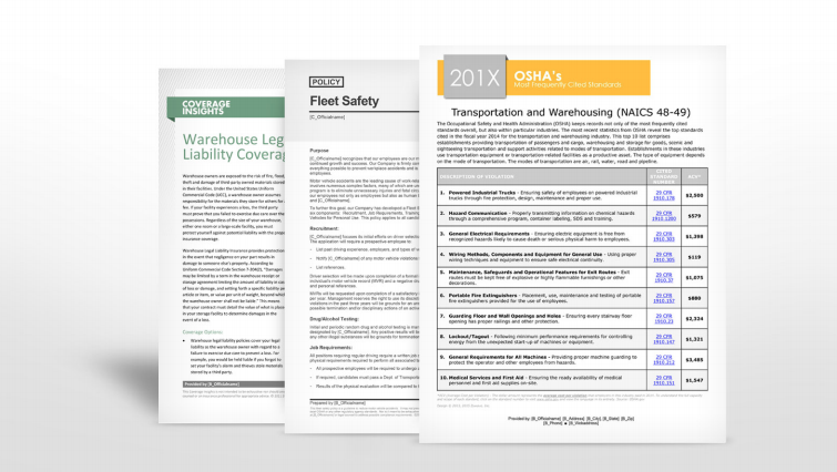Warehousing Industry Safety Manuals | TPG Insurance Services