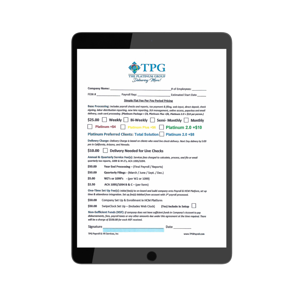 TPG Payroll Application form - TPG Employer Forms