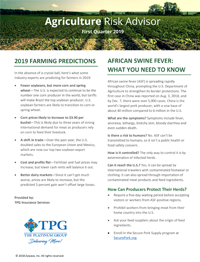 Agriculture Risk Advisor Newsletter- First Quarter