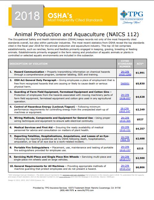 OSHA Standards - Animal Production and Aquaculture | TPG