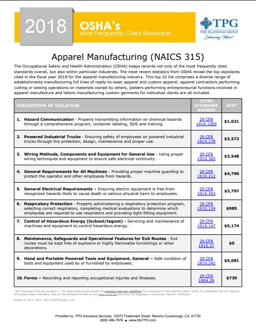 OSHA Standards - Apparel Manufacturing | TPG