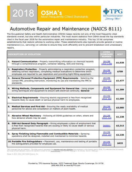 OSHA Standards - Automotive Repair and Maintenance | TPG
