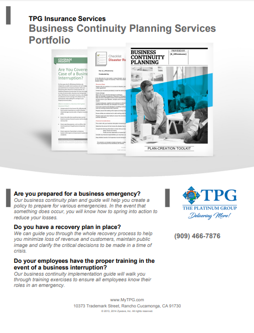 TPG Insurance Services - Business Continuity Planning Services Portfolio