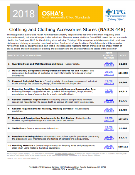OSHA Standards - Clothing and Accessories Stores | TPG