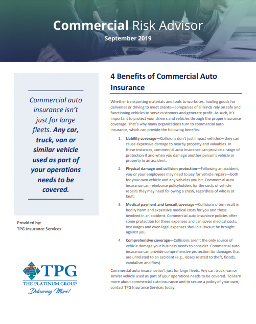 TPG Commercial Risk Advisor Newsletter - September 2019