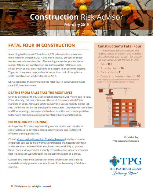 Construction Risk Advisor Newsletter - February 2019