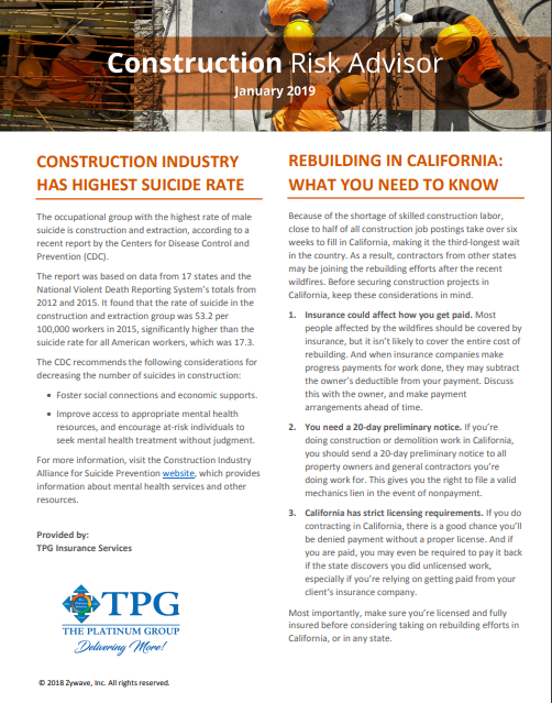 Construction Risk Advisor Newsletter - January 2019