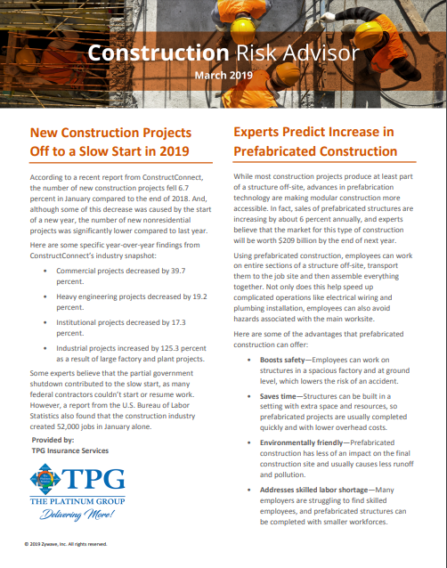Construction Risk Advisor Newsletter - March 2019