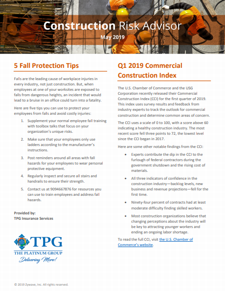 Construction Risk Advisor Newsletter - May 2019