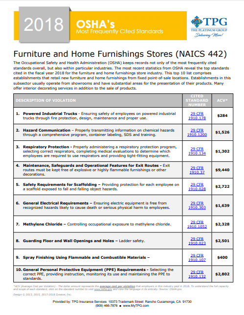 OSHA Standards -Furniture and Home Furnishings Stores | TPG