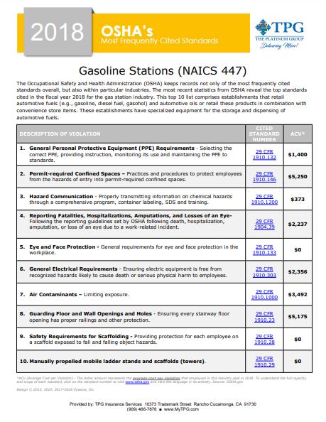 OSHA Standards - Gasoline Stations | TPG