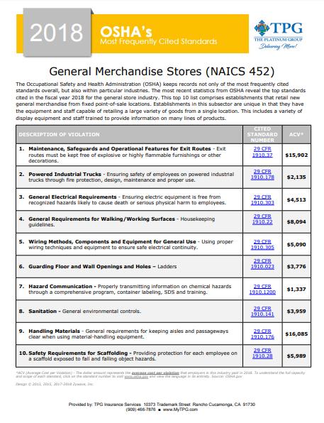 OSHA Standards - General Merchandise Stores | TPG