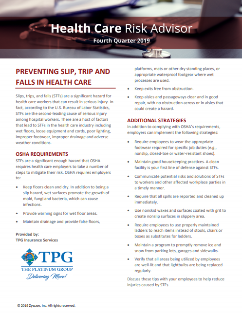 Health Care Risk Advisor Newsletter - Fourth Quarter 2019