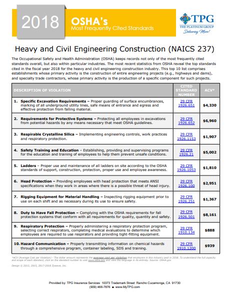 OSHA Standards - Heavy and Civil Engineering Construction | TPG