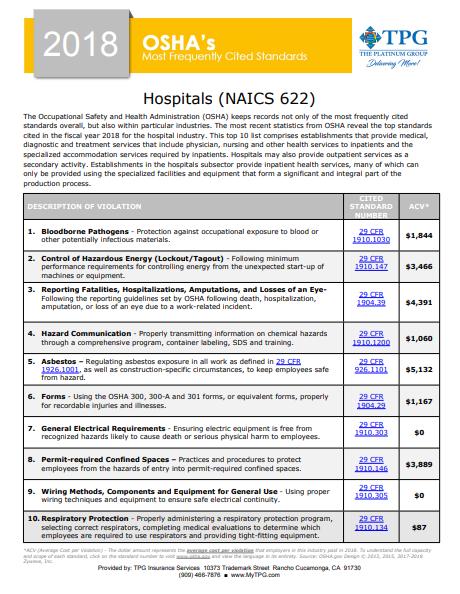 OSHA Standards - Hospitals | TPG