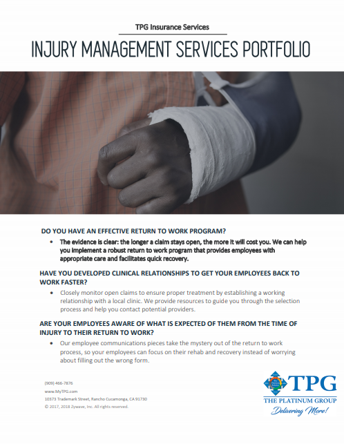TPG Insurance Services - Injury Management Services Portfolio