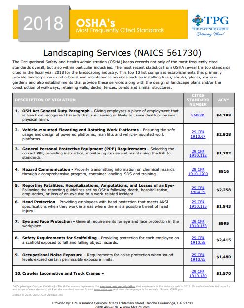 OSHA Standards - Landscaping Services | TPG