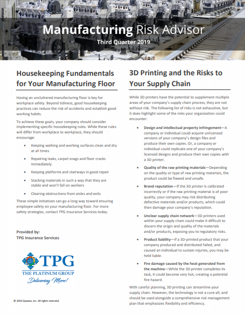 TPG Manufacturing Risk Advisor - Third Quarter 2019
