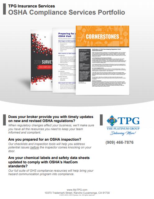 TPG Insurance Services - OSHA Compliance Services Portfolio