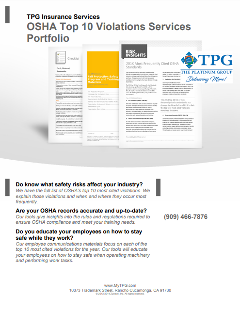 TPG Insurance Services - OSHA Top 10 Violations Services Portfolio