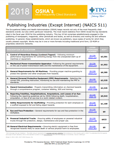 OSHA Standards - Publishing Industries | TPG