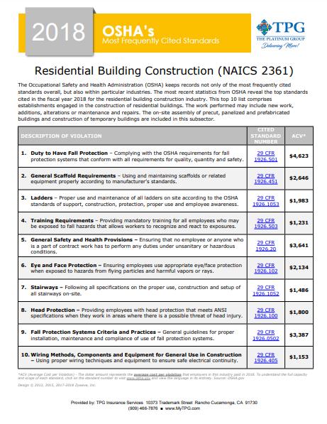 OSHA Standards - Residential Building Construction | TPG