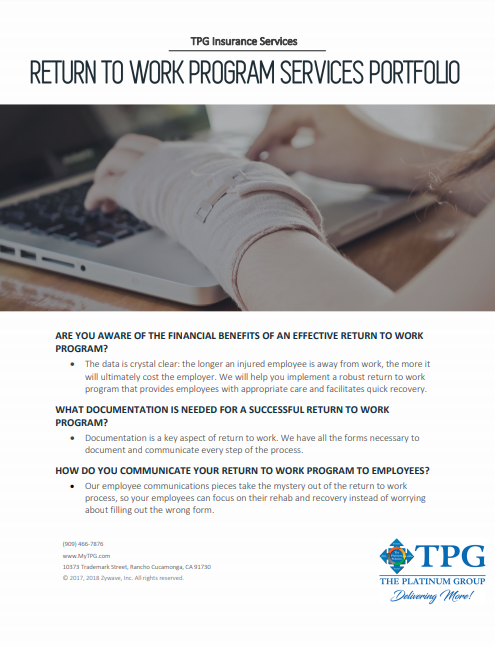 TPG Insurance Services - Return to Work Program Services Portfolio