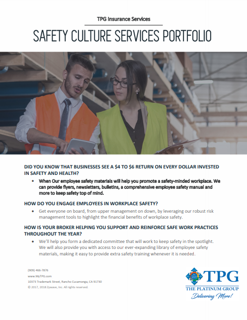 TPG Insurance Services - Safety Culture Services Portfolio