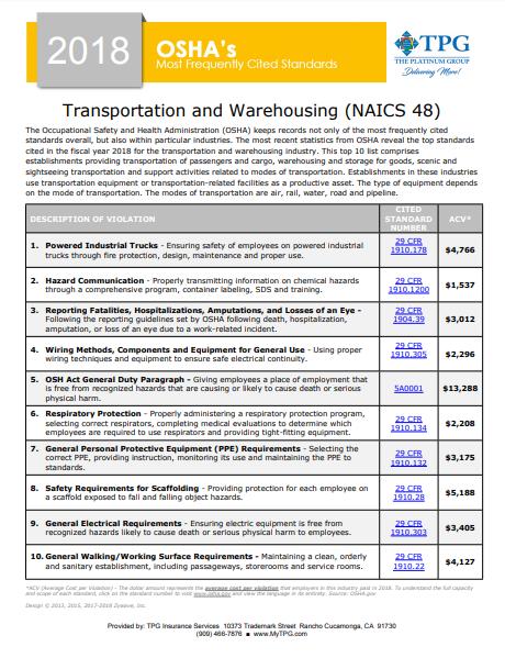 OSHA Standards - Transportation and Warehousing NAICS 48 | TPG