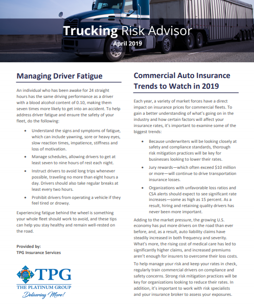 TPG Trucking Risk Advisor Newsletter - April 2019
