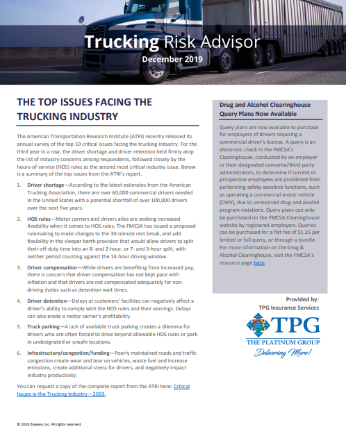 TPG Trucking Risk Advisor Newsletter - December 2019