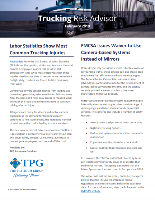 TPG Trucking Risk Advisor Newsletter - February 2019