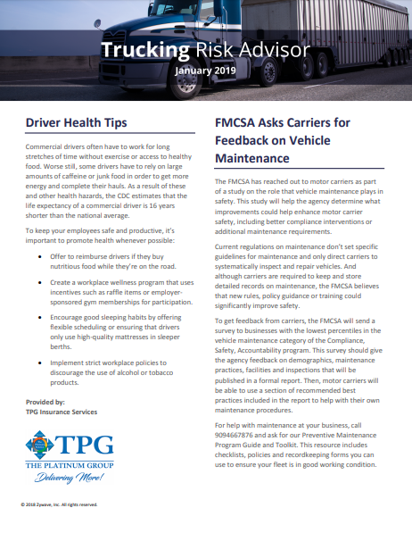 TPG Trucking Risk Advisor Newsletter - January 2019