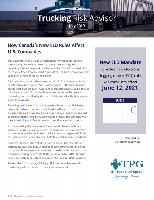 TPG Trucking Risk Advisor Newsletter - July 2019