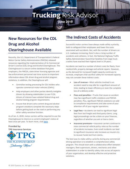 TPG Trucking Risk Advisor Newsletter - June 2019