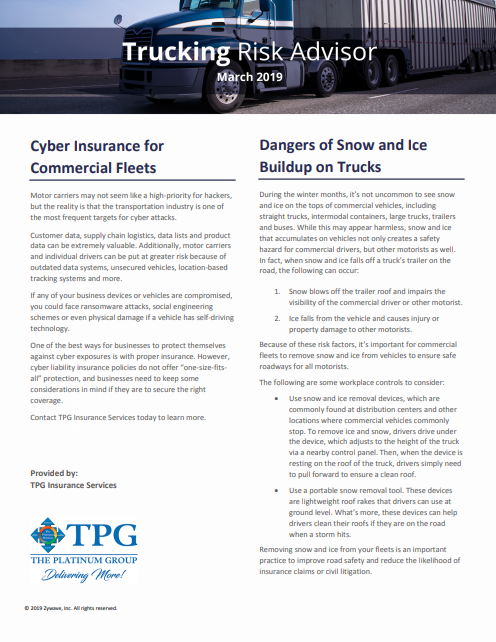 TPG Trucking Risk Advisor Newsletter - March 2019