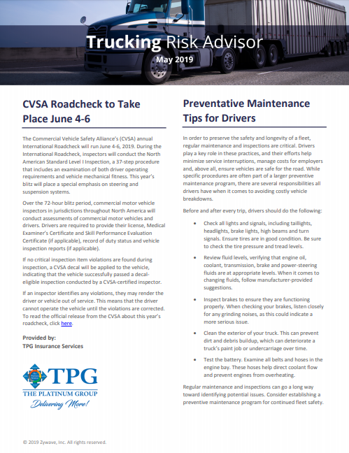 TPG Trucking Risk Advisor Newsletter - May 2019