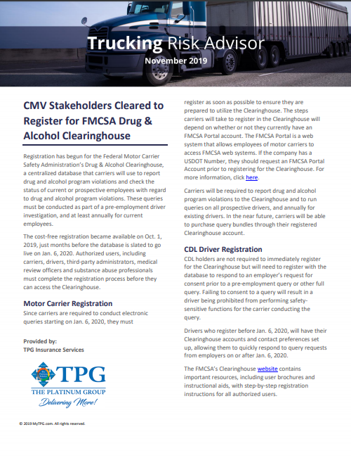TPG Trucking Risk Advisor Newsletter November 2019