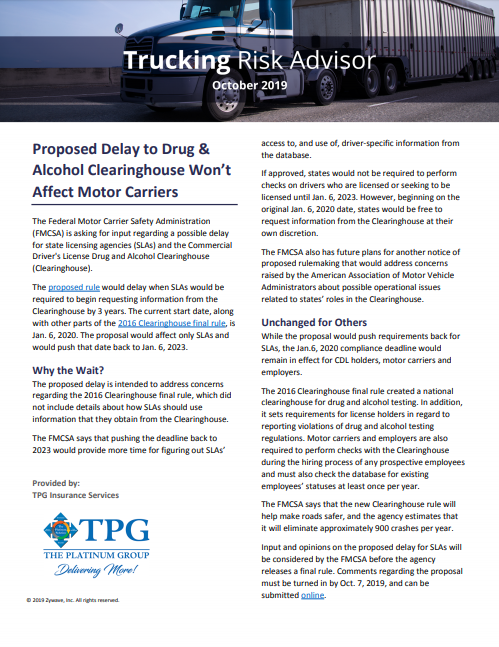 TPG Trucking Risk Advisor Newsletter - October 2019