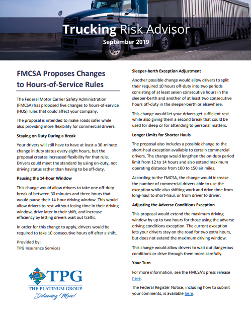 TPG Trucking Risk Advisor Newsletter - September 2019