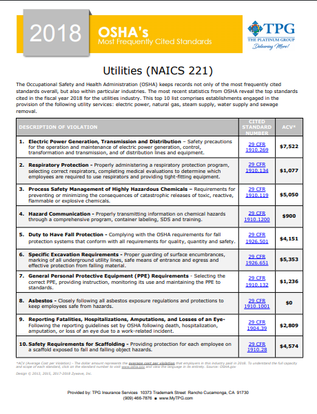 OSHA Standards - Utilities | TPG