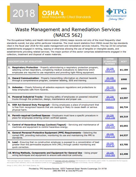 OSHA Standards - Waste Management and Remediation Services | TPG
