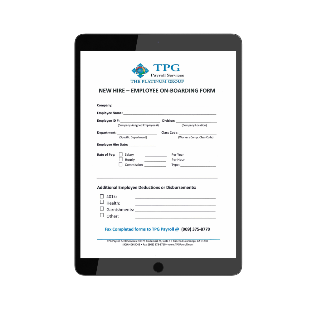 TPG New Hire Form- Employee On-boarding Form