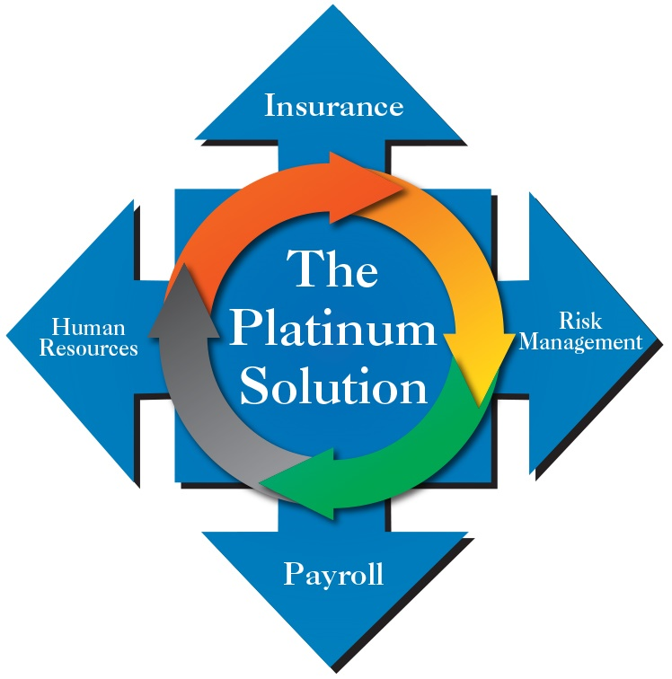 The Platinum Solution showing 4 ways TPG helps its clients: Insurance, Risk Management, Payroll & Human Resources