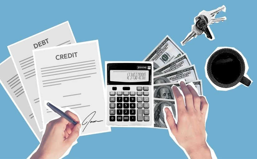 """Title image for Accounts Receivables Protection and Trade Credit Insurance FAQs showing a pair of hands next to a calculator, money, a set of keys and a coffee mug. The left hand is signing some """"credit"""" and """"debit"""" documents."""