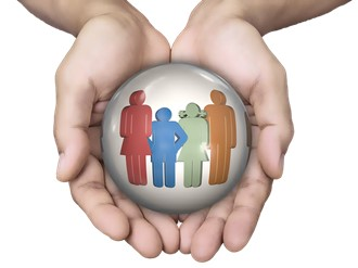 Title image for What is the Difference between Uninsured Motorist and Underinsured Motorist Coverage? showing two hands protectively holding a ball with a figure of a family inside.